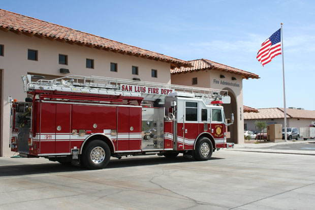 Fire Engine 1 in Front of San Luis Fire Administration Building
