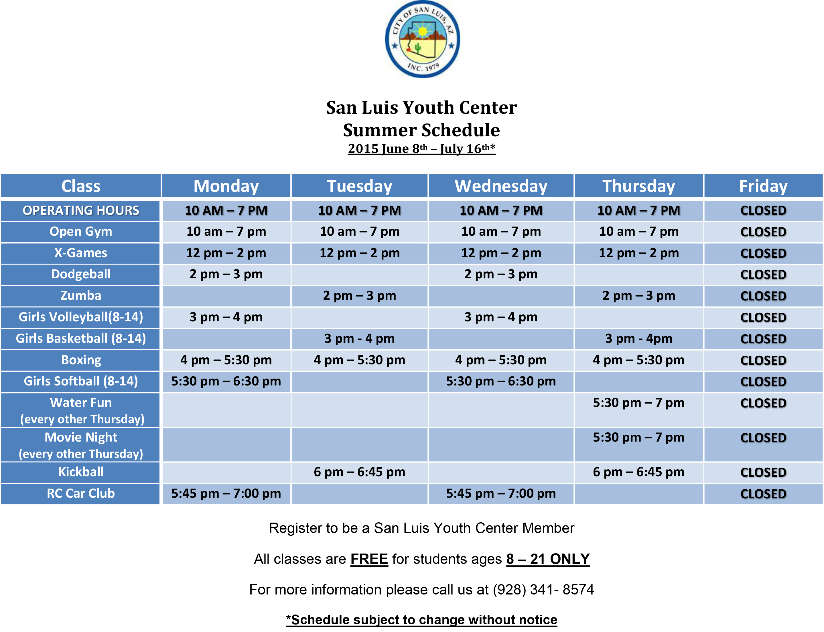 2015 Summer Schedule Youth Center