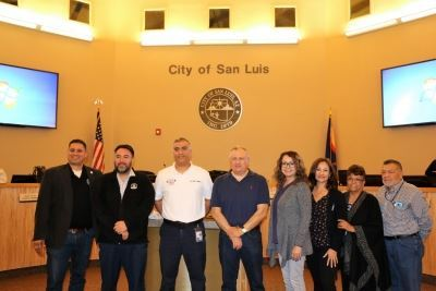 council members and new fire chief