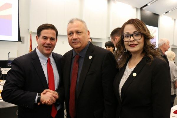 Governor Doug Ducey, Mayor Gerardo Sanchez, and Vice Mayor Maria Cecilia Ramos at the Governors&#39