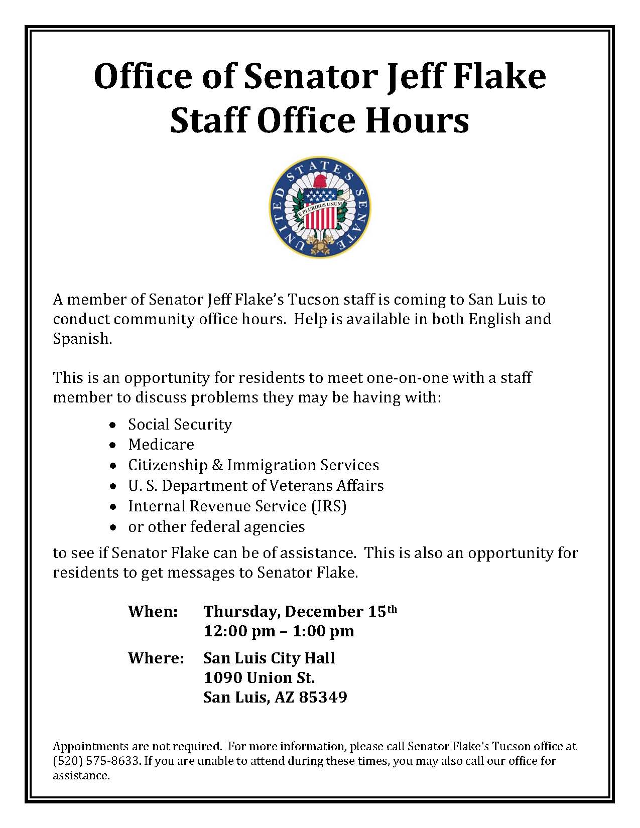San Luis Flake Staff Office Hours 12-15-16